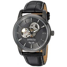 Invicta Mens Objet dArt Stainless Steel Automatic-self-Wind Watch with Leather-Calfskin Strap, Black, 24 (Model: 22619)