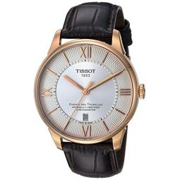 Tissot Mens T-Classic Swiss Stainless Steel and Leather Automatic Watch, Color:Brown (Model: T0994083603800)