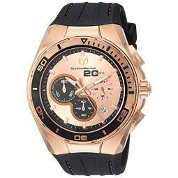 Technomarine Mens Cruise Stainless Steel Quartz Watch with Leather Calfskin Strap, Brown, 23.6 (Model: TM-116001)