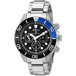 Seiko Mens SSC017 Prospex Analog Japanese Quartz Solar Stainless Steel Dive Watch