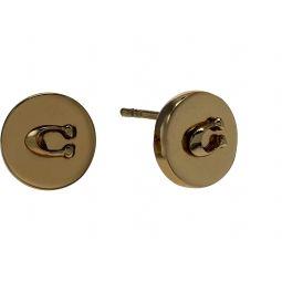 COACH Metal Logo Round Stud Earrings