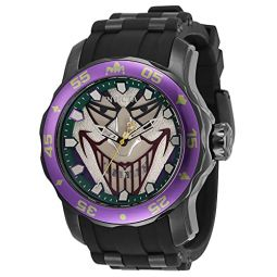 Invicta Mens DC Comics Joker Quartz Watch with Silicone, Stainless Steel Strap, Black, 26 (Model: 35608)