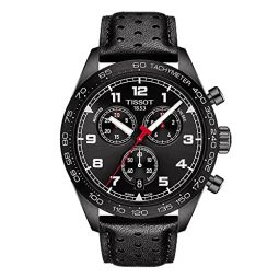Tissot Mens PRS 516 Chrono 316L Stainless Steel case with Black PVD Coating Swiss Quartz Leather Strap, 22 Casual Watch (Model: T1316173605200)