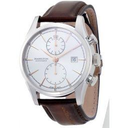 Hamilton Jazzmaster White Dial SS Leather Chrono Automatic Mens Watch H32416581