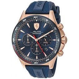 Ferrari Mens Rose Gold Quartz Watch with Silicone Strap, Blue, 21 (Model: 0830621)