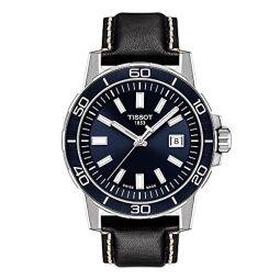 Tissot Mens Supersport Qua Stainless Steel Swiss Quartz Leather Strap, Black, 22 Casual Watch (Model: T1256101604100)