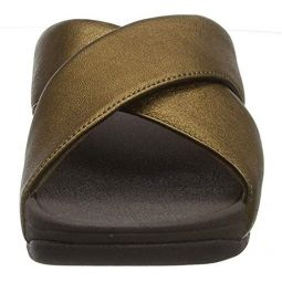 FitFlop Womens Lulu Cross Slide Sandals - Leather