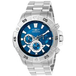 INVICTA Pro Diver Mens Quartz Watch with Blue Dial Chronograph Display and Silver Stainless Steel Bracelet - 22787