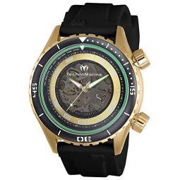 Technomarine Mens Manta Dual Zone Mechanical Stainless Steel Automatic Watch with Silicone Strap, Black, 24 (Model: TM-218005)