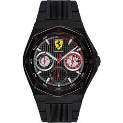 Ferrari Mens Aspire Stainless Steel Quartz Watch with 100 Silicone Strap, red, 26.9 (Model: 0830538)