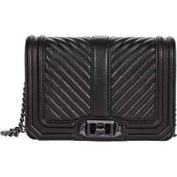 Rebecca Minkoff Womens Chevron Quilted Small Love Cross Body Bag