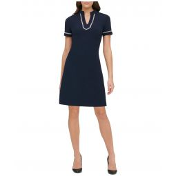 Scuba Crepe V-Neck Shiftdress