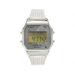 34 mm T80 Silver Tone Case Digital Dial Silver Stainless Steel Bracelet Watch