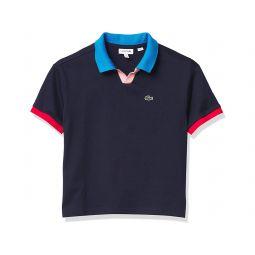 Girls Short Sleeve Semi Fancy Buttonless Polo Shirt