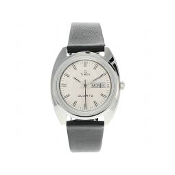 37 mm Q Timex 1978 Reissue Day-Date Leather Strap Watch