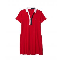Solid Zip-Up Polo Shirtdress