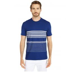 Lacoste Short Sleeve Striped Tee in Cottonu002FLinen Blend Jersey Chic