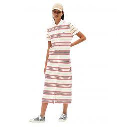 Lacoste Short Sleeve Stripe Button Through Pique Maxi Dress