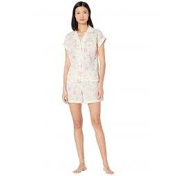 LAUREN Ralph Lauren Woven Short Sleeve Dolman Pointed Collar Boxer Pajama Set