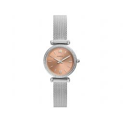 Fossil Carlie Mini Three-Hand Pave Crystal Stainless Steel Mesh Watch ES5088