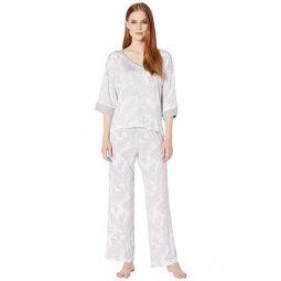 Rayon Spandex Knit 3/4 Sleeve V-Neck Ankle Pants PJ Set