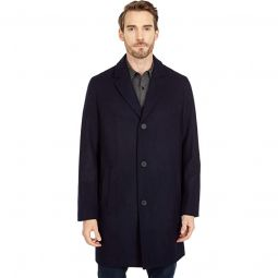 37 Melton Wool Notched Collar Coat with Welt Body Pockets