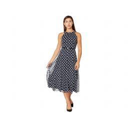 Tommy Hilfiger Sleeveless Connect A Dot Chiffon Belted Midi Dress