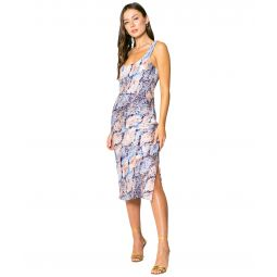 Blue Snake Printed Bias Midi Dress with Side Slit and Tie At the Back
