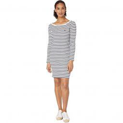 Long Sleeve 1X1 Rib Boatneck Dress