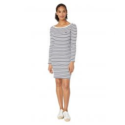 Lacoste Long Sleeve 1X1 Rib Boatneck Dress