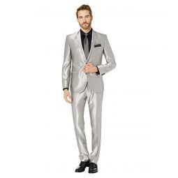 Nick Graham Silver 32 Finished Bottoms Hem Suit