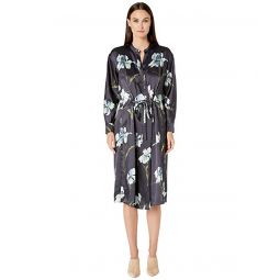 Iris Print Long Sleeve Dress