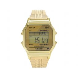 34 mm T80 Gold Tone Case Digital Dial Gold Stainless Steel Bracelet Watch