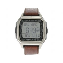 47 mm Command Urban Metal Digital Silver-Tone Brown Leather & Silicone Combo Strap
