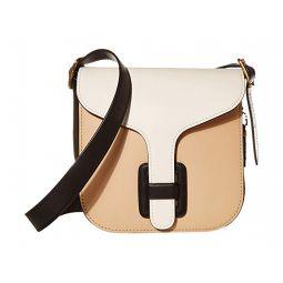Color-Block Leather Courier Bag