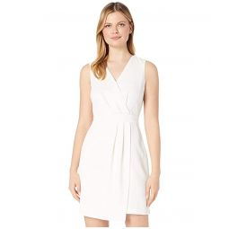 Vince Camuto Sleeveless Parisian Crepe Pleat Front V-Neck Dress