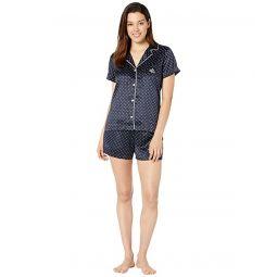 Short Sleeve Roll Cuff Notch Collar Boxer Pajama Set