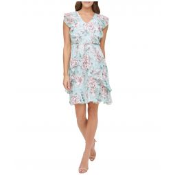 Victoria Floral Flutter Sleeve Chiffon Dress