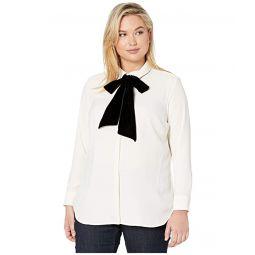 LAUREN Ralph Lauren Plus Size Necktie Velvet Shirt