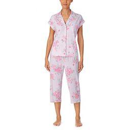 LAUREN Ralph Lauren Classic Knits Dolman Sleeve Notch Collar Capri Pants Pajama Set