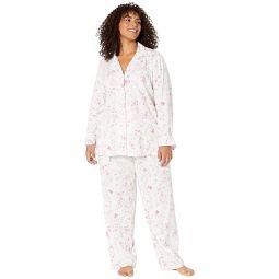 Plus Size Cotton Jersey Knit Notch Collar Long Pants PJ Set