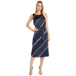 Vince Camuto Sleeveless Geo Mood Diagonal Belted Dress