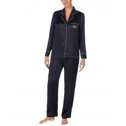 Silk Long Sleeve Notch Collar Pajama Set