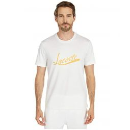 Lacoste Short Sleeve Solid Tee with Lacoste Script Print on Front