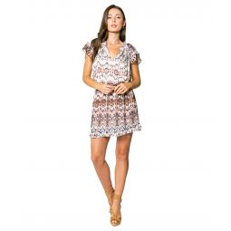 Ethnic Printed Mini Dress with Flutter Sleeve