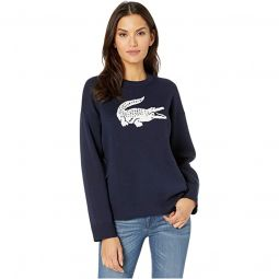 Long Sleeve CN Jacquard Logo Cotton Sweater