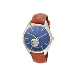 42 mm Waterbury Auto Silver Case Blue Dial Brown Leather