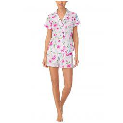 LAUREN Ralph Lauren Classic Wovens Short Sleeve Notch Collar Boxer Pajama Set