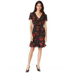 Pam Brushed Floral Print Silk Dress