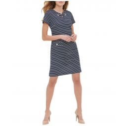 Stripe Scuba Crepe Grommet Pocket Dress